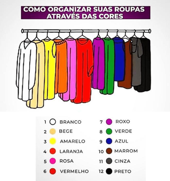 Como organizar as roupas no armário.