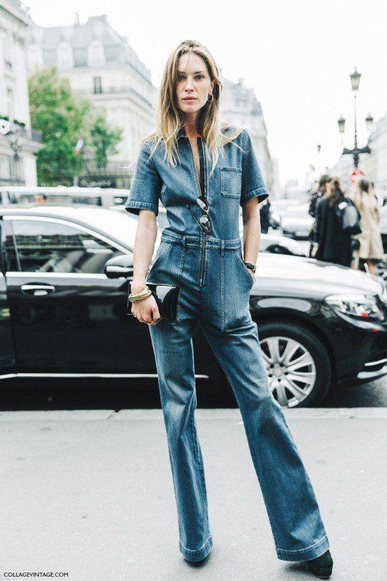 Como usar macacão jeans comprido.