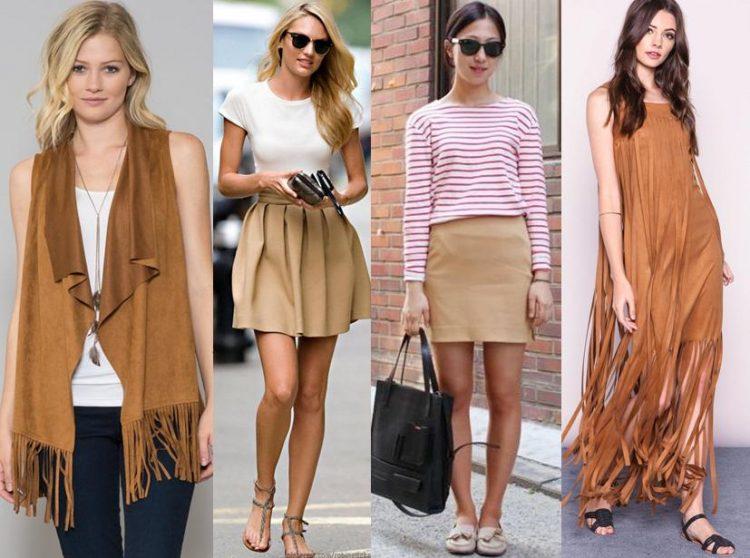 Quatro mulheres vestindo peças em tons de caramelo.