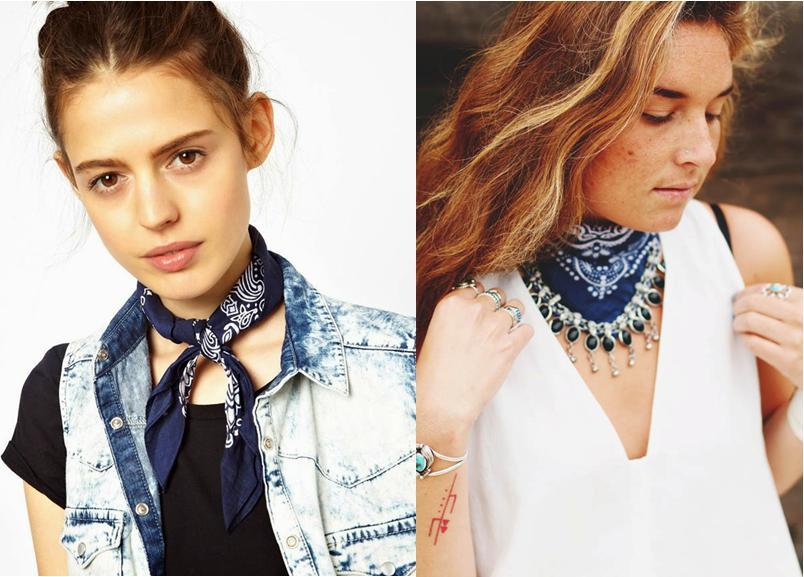 Moças usando bandanas amarradas no pescoço.