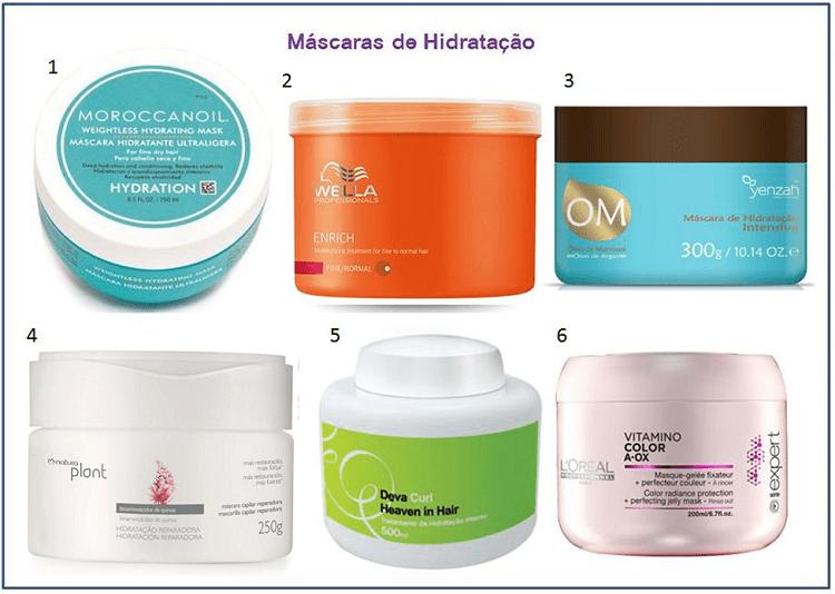 Máscaras de tratamento de cabelos - hidratação.