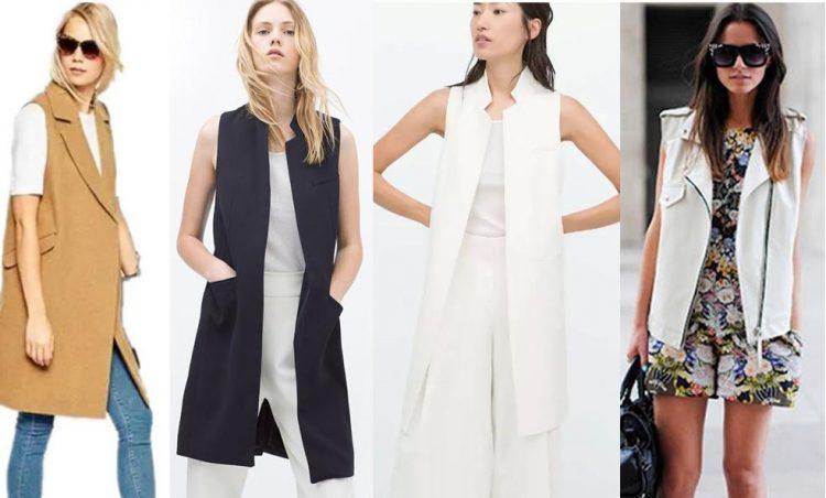 Quatro mulheres vestidas com coletes alongados sobre a roupa.