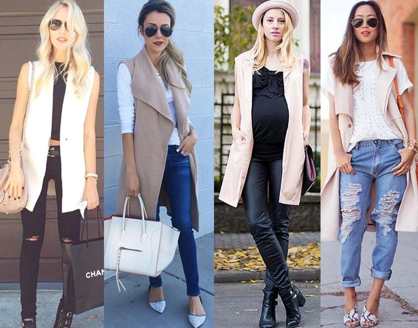 Colete longo com calças