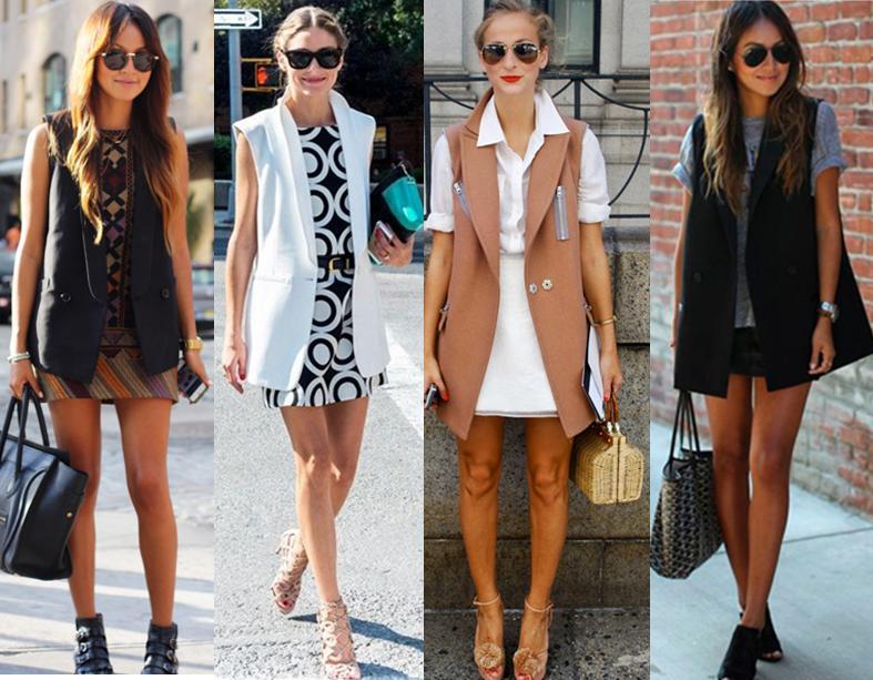 Quatro mulheres vestindo produções com coletes compridos.