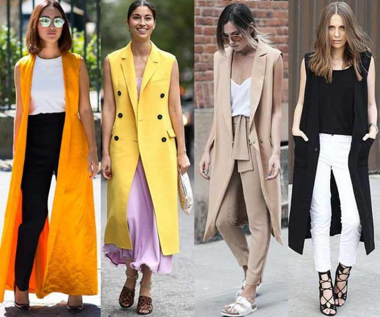 Quatro mulheres com looks contendo coletes bem longos.