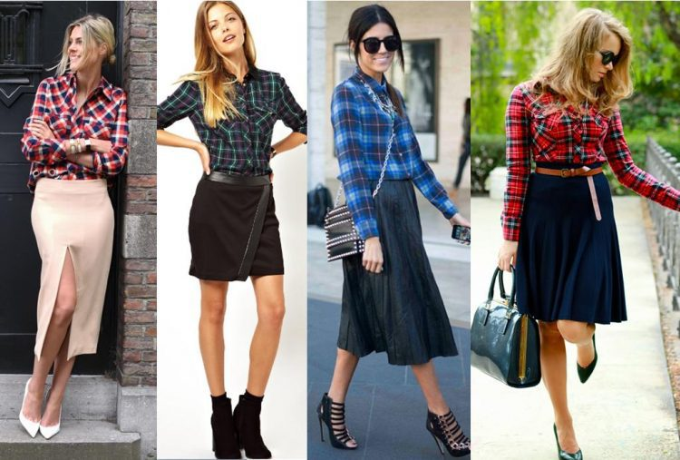 Camisa xadrez com saia