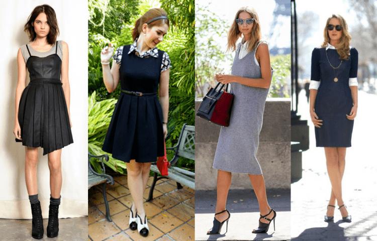 Quatro produções de vestidos com blusas por baixo.