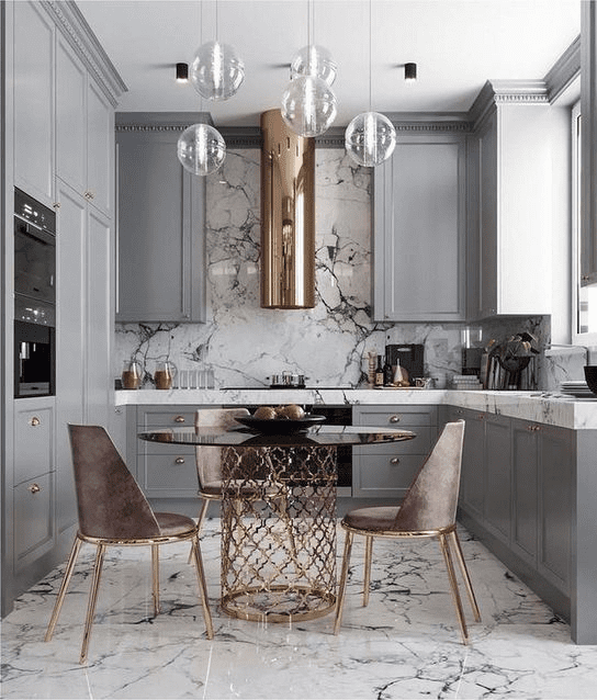 Decoração com rose gold na cozinha.