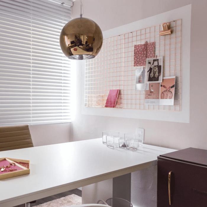 Decoração com rose gold: escritório.