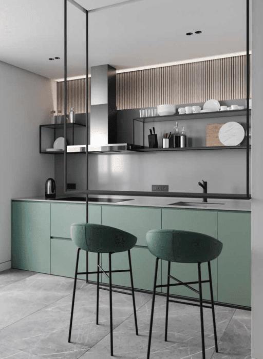 Cozinha verde menta.