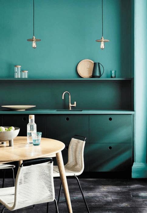 Verde na decoração da cozinha.