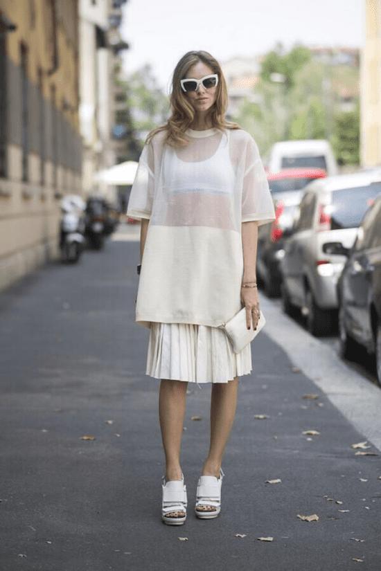 Como usar blusa transparente branca.
