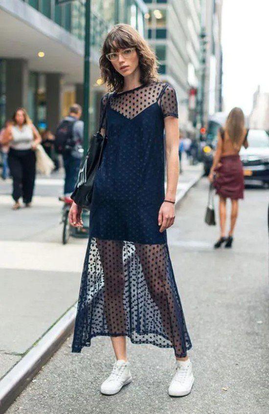 Como usar vestido transparente.