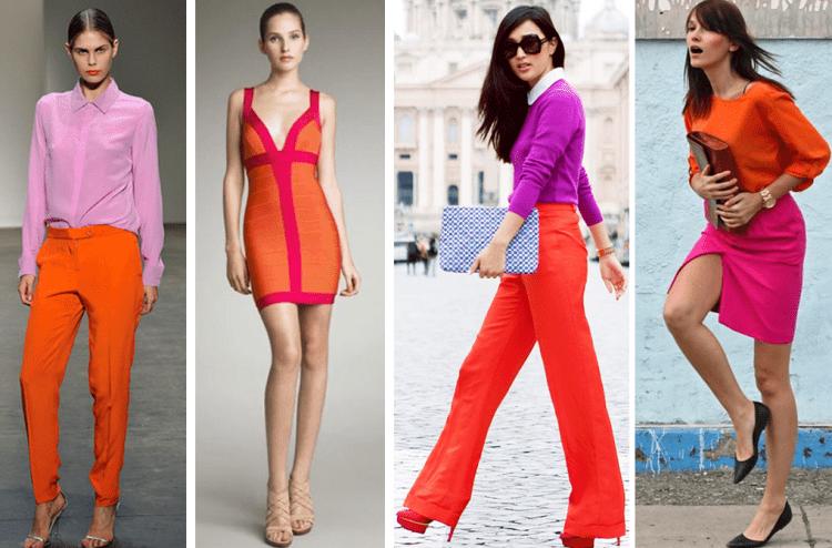 4 looks de pink com laranja