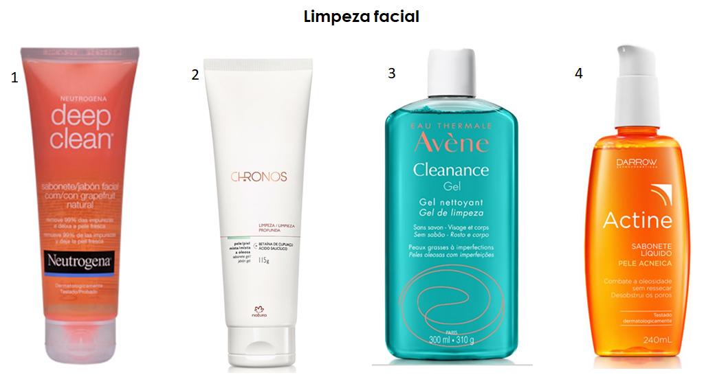 Produtos para limpar a pele do rosto.