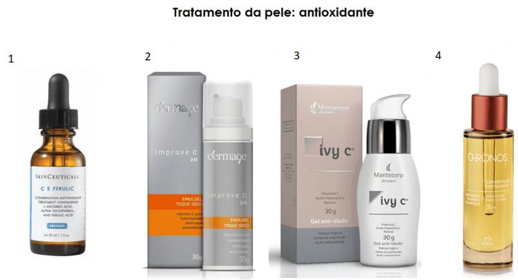 Produtos antioxidantes para a pele do rosto.