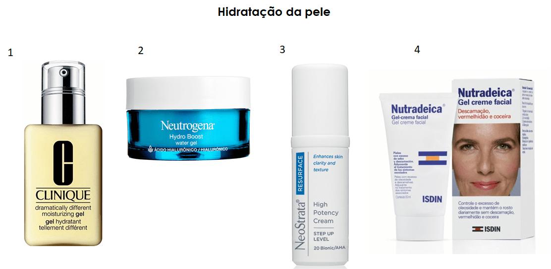 Produtos para a hidratação do rosto.