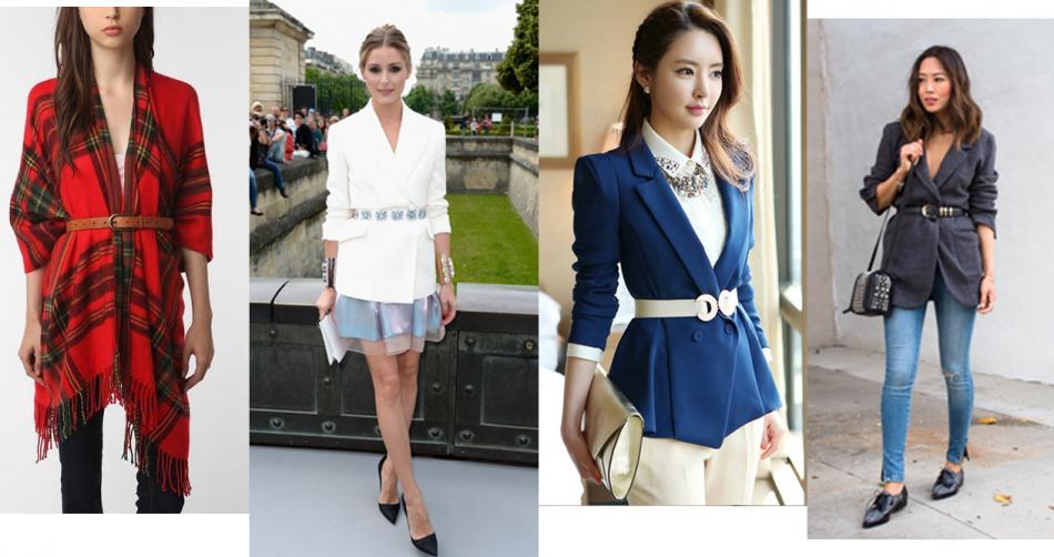 Mulheres vestindo blazer com um cinto marcando a cintura