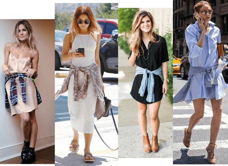 Mulheres com peças de camisas amarradas na cintura