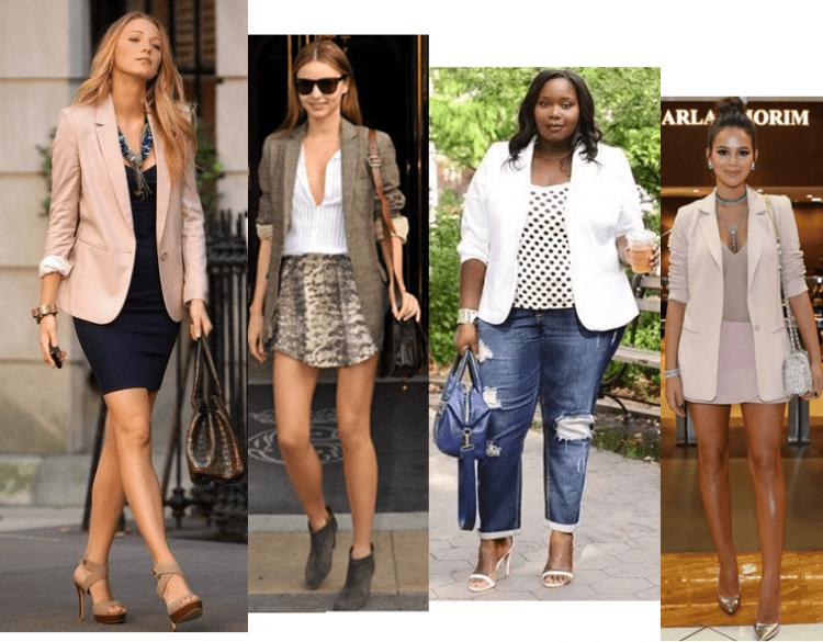 Mulheres vestindo blazers com as mangas dobradas