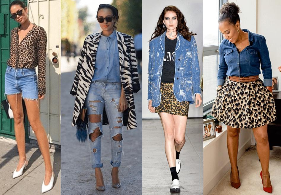 Como usar animal print com jeans