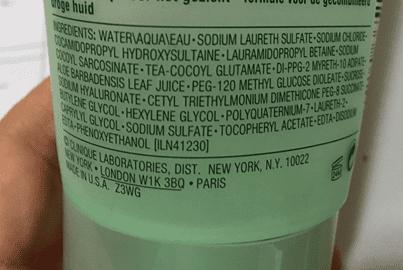 Ingredientes do Mild Sopa da Clinique.
