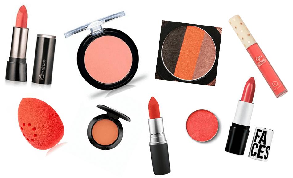Maquiagem coral: opções de produtos.