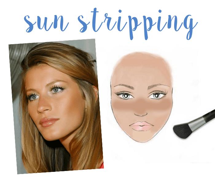 Como usar bronzer: técnica sun stripping.